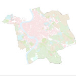 Here, a breakdown of land use in Nolli's time—built infrastructure, vineyards and private gardens—are color coded.